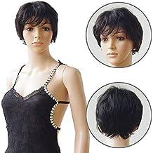 Parrucca Donna Capelli Veri Corti Neri 100% Remy Human Hair Parrucche  Brasiliane Naturali   1B 4b88488406fc