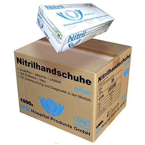 SFM ® SOFTLIGHTS : XS, S, M, L, XL Nitril blau puderfrei F-tex Einweghandschuhe Einmalhandschuhe Untersuchungshandschuhe Nitrilhandschuhe M (1000)