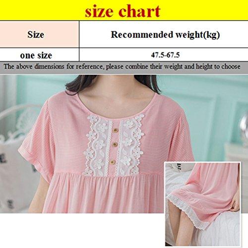 Zhuhaitf Woman Quality Premium Long Nightgown Dresses Sleep Tee Sleepwear Pink