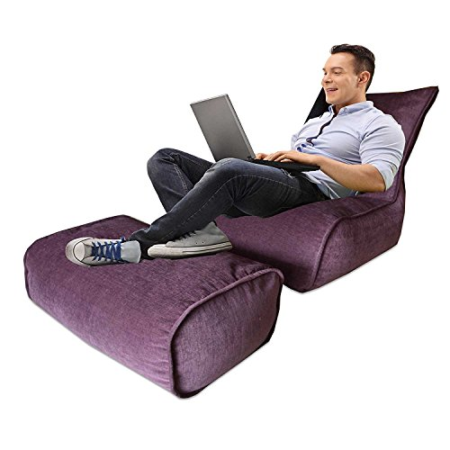 Avioni Bigmo Designer Bean Bags Comfy Stylish Chair XXXL With Matching Foot Rest Without Beans 100% Cotton In Purple