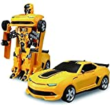 YeeHaw Robot Races Car Toy (Battery Operated) 2 in 1 Transform Car-Toy with Bright Lights and Music (Multicolour)