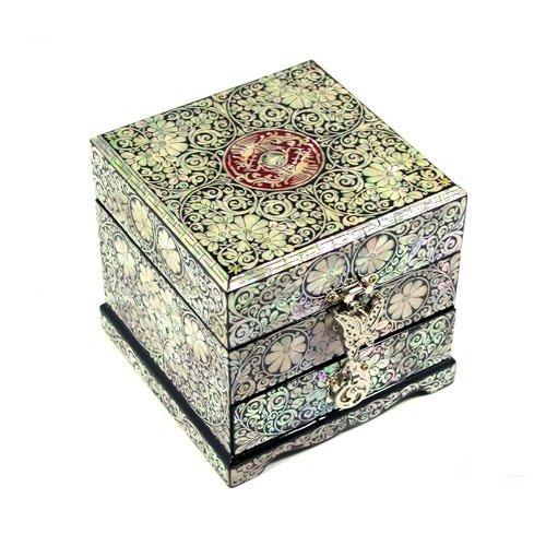 Incrustations en nacre Déco Design Arabesque Papillon Bijoux-Bois Laquée-main Art Boîte de rangement à Bijoux Coffre Trésor Étui de rangement