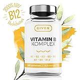 Vitamin B Komplex Hochdosiert - 180 Vegan Tabletten mit Alle B Vitamine: Thiamin B1, Riboflavin B2, Niacin B3, Pantothensäure B5, Pyridoxin B6, Biotin B7, Folsäure B9, Methylcobalamin B12 - Hergestellt in Deutschland