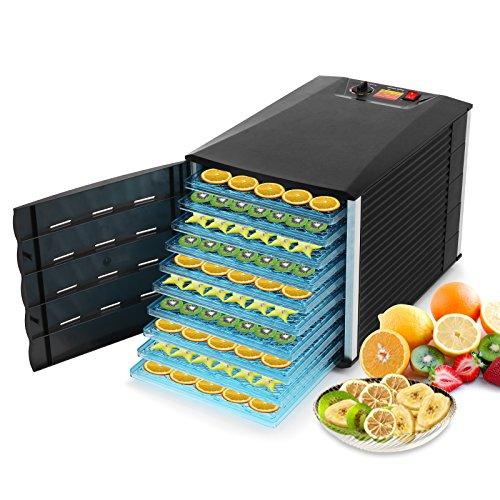 Voilamart 10 Trays Food Dehydrator 630W Black Large Capacity Dryer Maker Fruit Vegetable Beef Jerky Preserver with Adjustable Temperature Control