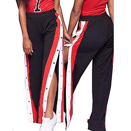 Topgrowth Pantalone Sportivo Donna Sciolto Elastico Casuale Rivetto A Vita Alta Gamba Larga Pantaloni Lunghi Elegante Nero