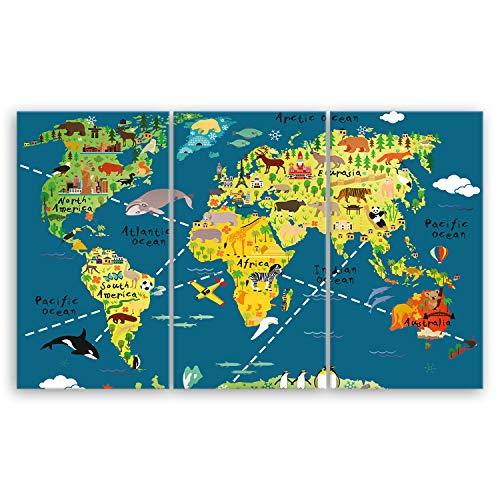 ge Bildet® hochwertiges Leinwandbild XXL - Weltkarte für Kinder - Dunkelblau - Bild für kinderzimmer - 165 x 100 cm mehrteilig (3 teilig) 1465