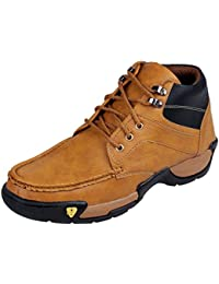 Tan Men Shoes Synthetic Leather Dress Boots For Men Stylish Sturdy Shoes For Men – Tan - College Office Parties...