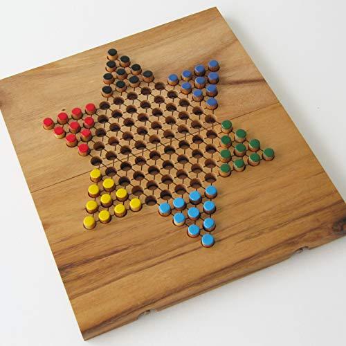 DAMES CHINOISES - jeu de société familial de stratégie de 2 à 6 joueurs en bois massif aux normes CE. Dimensions 24 x 28 cm. Marque française le Délirant. Plateau refermable pour un rangement facile.
