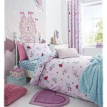 Hadas Flores lunares rosa azul mezcla de algodón individual funda nórdica y anillo superior cortinas