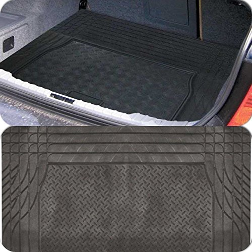 Price comparison product image Black Heavy Duty Rubber 'Trim to fit' Boot Protection Liner Mat for Suzuki SX4 S-Cross (2013>)