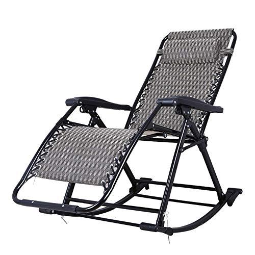 DQCHAIR Faltbarer Aufenthaltsraum-Schaukelstuhl mit entfernbarem Kissen, Schwerelosigkeits-Patio-Ruhesessel-Strand-kampierender justierbarer tragbarer Stuhl - Adirondack Patio Schaukelstuhl