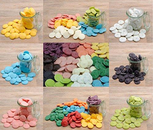 yagma Candy Melts Starterset - Farbexplosion (rot, orange, gelb, dunkelgrün, blau, violett, schwarz, weiß/mit farbigen Punkten, hellgrün, pink, braun) Schokolade Zum Schmelzen