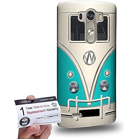 Case88 [LG G3] 3D impresa Carcasa/Funda dura para & Tarjeta de garantía - Art Fashion Cyan Retro Bus Mini Van
