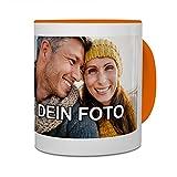 PhotoFancy® - Tasse mit Foto bedrucken lassen - Fototasse personalisieren – Kaffeebecher zum selbst gestalten (Orange)