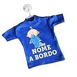 Sorrydenti Mini T-shirt magliettina auto macchina blu chiaro bimbo a bordo personalizzata nome bebè baby peluche coniglietto