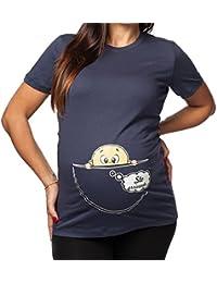 T-Shirteria - Camiseta larga de mujer, ideal para embarazadas. Estampado divertido con