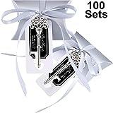 Jovitec 100 Ensembles Ancien Clé Décapsuleur Porte-Clés Cadeau de Souvenir de Faveur de Mariage Set Cadeau Oreiller Boîte de Bonbons Escort Merci Tag Français Ruban (Argent)