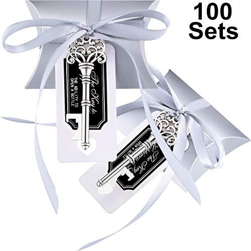 Jovitec 100 set apribottiglie chiave vintage matrimonio favorire il veleno del ricordo set contenitore di caramelle cuscino escort grazie tag nastro francese (argento)