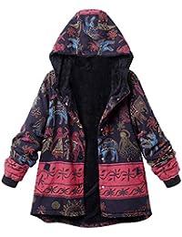 4fcd44c0f132 FNKDOR Manteau à Capuche Femmes Grande Taille Hiver Chaud Veste en Coton  Lâche Poches Rétro Fleurs
