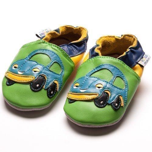Jinwood designed by amsomo - FUNNY CARS green - soft sole - Auto - Hausschuhe - Lederpuschen - Krabbelschuhe Grün