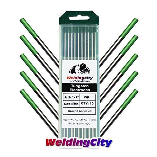 WeldingCity 10 TIG Welding Tungsten Electrodes Pure Green 1 16x7 10Pk Box By WeldingCity