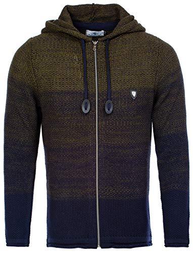 CRSM Karl's People- Strickjacke Streetwear Menswear Autumn/Winter Knit Knitwear Sweater Hoodie Jacket (M, Khaki)