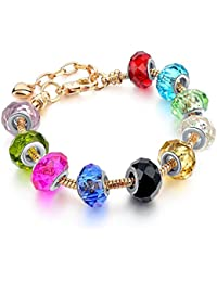 Hot And Bold Gold Plated Pandora Inspired Multicolour Charms DIY Bracelet For Women/Girls.Daily/Party Wear Fashion...