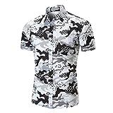 QUINTRA Persönlichkeit Männer Casual Schlank Kurzarm Printed Shirt Top Bluse (Weiß, L)
