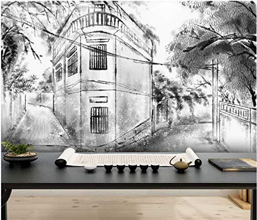 Wxlsl 3D Wandbild Tapete Benutzerdefinierte Neue Chinesische Tinte Landschaften Jiangnan Wasser Stadt Architektur Pavillon Pavillon Hintergrund Wand-250Cmx175Cm