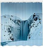 ABAKUHAUS Paisaje Cortina de Baño, Montañas con Nieve, Tela Sintética Estampa Digital Colores Vibrantes Set 12 Ganchos, 175 x 200 cm, Azul Petróleo