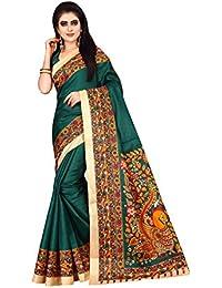 Dhruvi Trendz Women's Bhagalpuri Silk Printed Saree With Blouse Piece Material