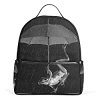 Backpack for Ladies Girls Frogs and Umbrellas Shoulder Bags Casual School Bag Rucksack Daypack for School and Travel Camping Daily Uses by ISAOA