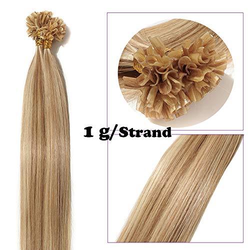 Extensions Echthaar Bondings Keratin U-Tip Remy Human Hair Haarverlängerung 50 Strähnen Weissbraun/Hellblond #12p613 22