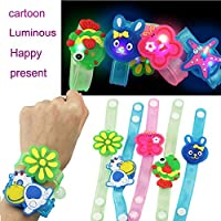 Spritumn Party Favors for Kids, 12 PCS LED Flash Spinning Bracelets Colorful Light Up Toys Wristbands with LED Neon Animal, Night Party Supplies Kids Party Favors Birthday Party Prizes