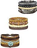 BE STEEL Schmuck 12 Stück Leder Armbänder Set für Männer Frauen HolzPerlen Geflochtene Herren Armbänder Wrap Handgemacht, Einstellbar