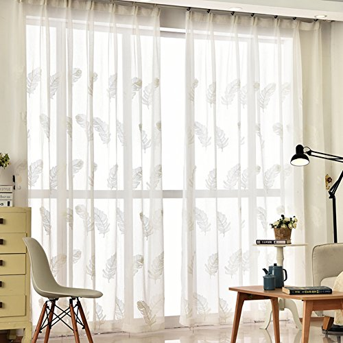 XGXQBS 1 Panel Bestickt Schiere Vorhänge, Feder-Design Vorhänge Segel-Platten Vorhänge Fensterbehandlung Für Schlafzimmer Wohnzimmer-weiß 150x270cm(59x106inch) (Platten Weiß Schiere Vorhang)