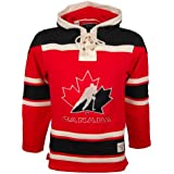 Old Time Hockey Team Canada Lace Up Jersey Hoodie Sweatshirt Red