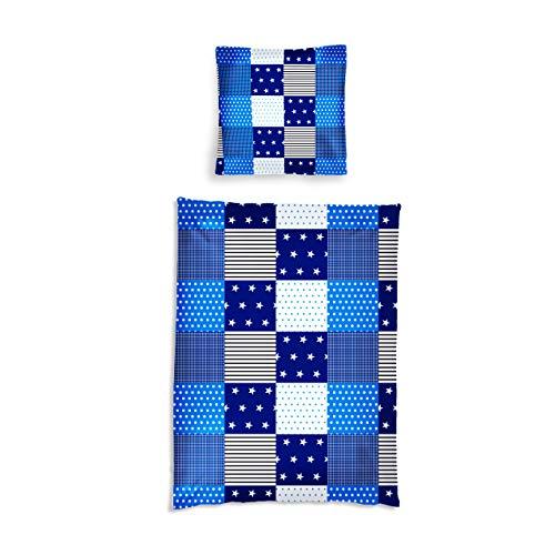 Lumaland Premium Baumwoll Baby- und Kinderbettwäsche mit YKK Reißverschluss 135 x 200 cm mit Kopfkissenbezug 80 x 80 cm Motiv Patchwork -