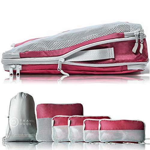 TRAVEL DUDE Cubos de Embalaje con Bolsas de Compresión para Equipaje | Organizador de Viajes y lavandería | Resistente al Agua y Ultra liviano (Rojo Vino, 7 Piezas)