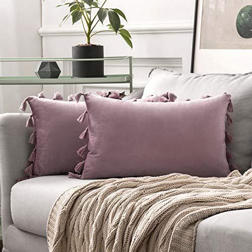 MIULEE 2er Set Samt Kissenbezug Quaste Kissenhülle Dekorative Tassel Dekokissen mit Verstecktem Reißverschluss Sofa Schlafzimmer Auto 12 x 20 Inch 30 x 50 cm Pink Lila -