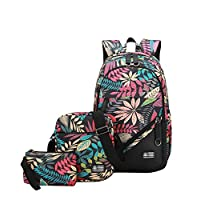 YoungSoul Canvas Backpack & Shoulder Bag & Pencil Bag - Patterned - Laptop School Rucksack - Casual Daypacks 3PCS - Unisex Leaves