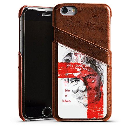 Apple iPhone 4 Housse Étui Silicone Coque Protection Albert Schweitzer Dessin Art Étui en cuir marron
