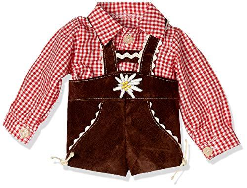 Puppenmode Sturm 7150-1 Karohemd mit Lederhose für Puppen, Rot