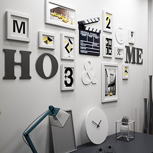 11 Multi cadres photo ensemble pin bois Creative combinaison moderne salon mur photo photo cadre mural/avec des images @The harvest season (Couleur : Blanc)