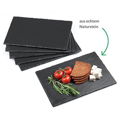 Minuma® Schieferplatten Set 6-teilig   30 x 20 cm aus Naturgestein mit Moosgummi-Füßen zum Schutz von Oberflächen  vielseitig einsetzbar z.B. als Servierplatte oder Untersetzer   edle Naturoptik