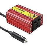 ESFIVR100 100W Spannungswandler Wechselrichter DC 12V auf AC 220V Inverter mit Universal AC Sockel; inkl. Kfz Zigarettenanzünder Stecker,Rot