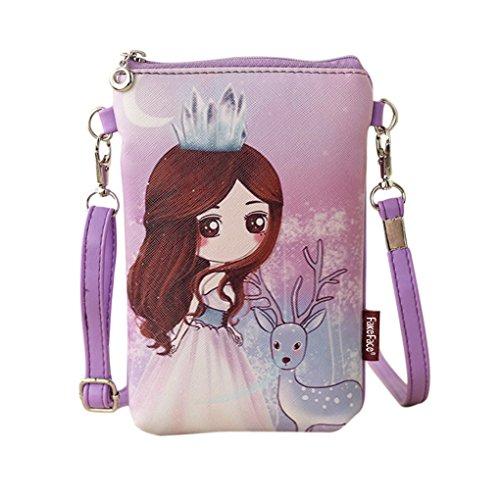 Mädchen Brustbeutel Brusttasche Handystasche Kleingeldtasche PU Leder Schlüsseltasche Kartentasche Umhängetasche mit süße Design und Farben