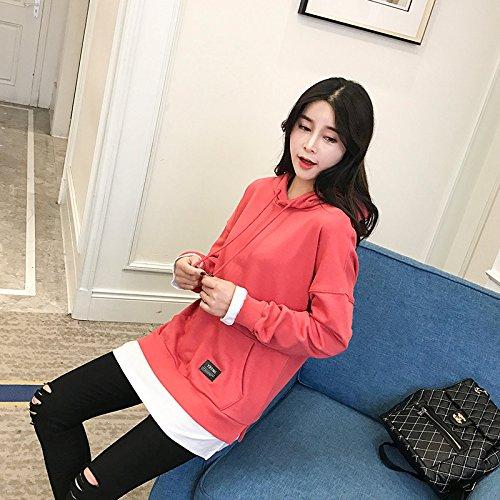 Xing Lin Pullover Con Cappuccio Anche Hat Shirt Due Maglione Marea Femmina Studenti Allentata Lunga). Ge Color