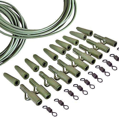 uyhghjhb 32 Stück/Set Outdoor Angeln Endgerät Karpfen Sicherheit Blei-Clips Schwanz Kegel Clips Wirbel Rig Tube Werkzeug, grün