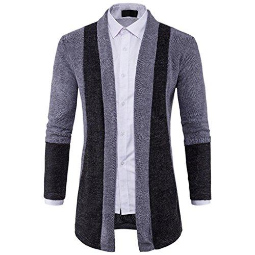 Uomo Cappotto M~XXL,Amlaiworld Uomo Cardigan slim fit maglione maglia Giacca lunga Grigio